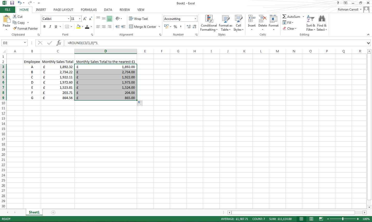 Round a number in excel